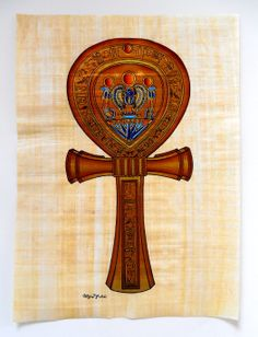 "Ancient Egyptian Art on Egyptian Papyrus. Unique Handmade Art For Sale at arkangallery.com | Title: ""Ankh"" (Key of Life or The Key of The Nile) 