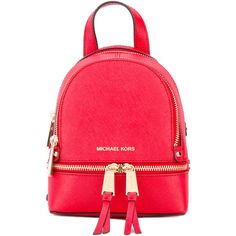 Michael Michael Kors Rhea extra small backpack ($229) ❤ liked on Polyvore featuring bags, backpacks, red, backpack bags, red leather backpack, leather daypack, genuine leather backpack and leather knapsack