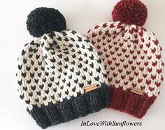 Knit Beanie with Pom Pom - Slouchy Beanie - Fair Isle Beanie - Knit Toque - Cozy Beanie - Warm Hat - Winter wear - Gift for her- Christmas