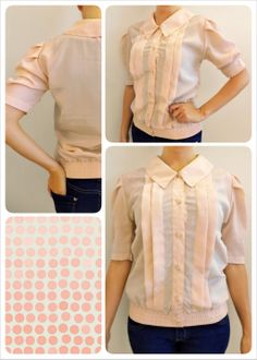 """* SILK SHIRT *  Size S Shoulders: 36 cm – 14"""" Bust: 46 cm – 17"""" Length: 61 cm – 24""""  Lovely 80's pale pink silk shirt, with large collar and pleats Elastic at bottom and silk covered buttons There is sewing machine stitching at inner sides (shirt has been taken in), not visible from outside € 15 plus p&p"""