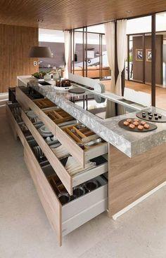 Trendy Kitchen Decor Modern Dream Homes Ideas Kitchen Island With Drawers, Diy Kitchen Island, Smart Kitchen, Kitchen Layout, New Kitchen, Kitchen Cabinets, Kitchen Counters, Awesome Kitchen, Kitchen Backsplash