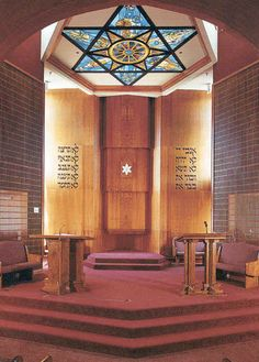 Beth Torah Synagogue in California, USA. The 18 ft. diameter Star of David, installed in a skylight, is lit entirely with artificial light and depicts each of the six days of creation in the points of the star. Jewish Synagogue, Jewish Temple, Synagogue Architecture, Religious Architecture, Arte Judaica, World Religions, Old Churches, Jewish Art, Star Of David