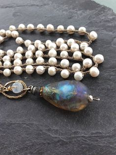 Pearl crochet necklace  'Pearly Belle' Basha Bead