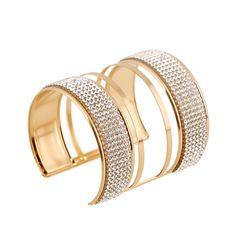 2016 Big Statement Bridal Bracelets Bangles Exaggerate Cuff Bracelets Femme Punk Full Crystal Solid Pattern Pulseiras