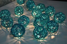 35 Bulbs Turquoise Rattan ball string lights for by ginew on Etsy, $16.99