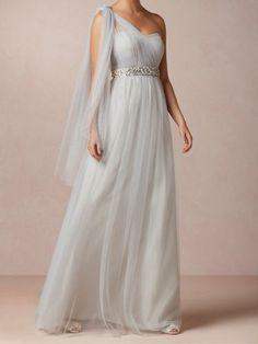 A-line Single Shoulder Evening Dress