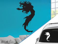 Mermaid With Fish Vinyl Decal Sticker Mermaid And Fish - Mermaid custom vinyl decals for car
