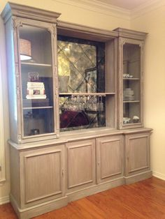 Custom Oak Wall Unit. Limed oak finish, painted in Chalk Paint® decorative paint by @anniesloanhome in Coco with an Old White Wash. www.kalologystudio.com   512.627.7376