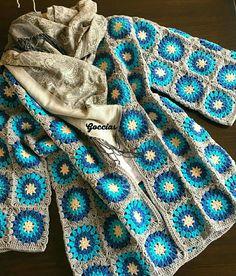 Gigi hırka Crochet Coat, Crochet Jacket, Crochet Cardigan, Crochet Shawl, Diy Crochet, Crochet Clothes, Crochet Bikini, Granny Square Crochet Pattern, Crochet Squares