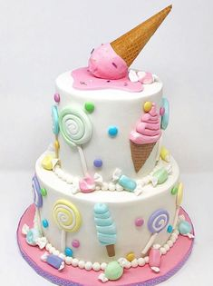 Adorable Ice cream themed birthday cake made with Satin Ice Fondant KR Bakes Cakes Candy Birthday Cakes, Ice Cream Birthday Cake, Candy Cakes, Themed Birthday Cakes, Birthday Cake Girls, Themed Cakes, Candy Theme Cake, Birthday Cakes For Children, Fondant Birthday Cakes