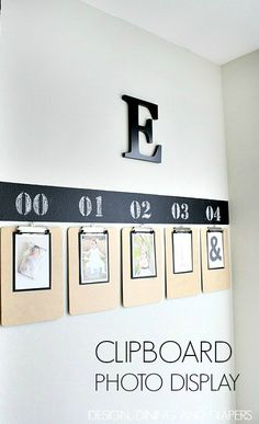 Easy Clipboard Photo Display Tutorial via designdininganddiapers.com