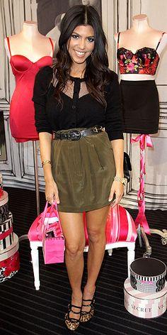 Kourtney - Khaki silk skirt and Haute sheer & solid blouse