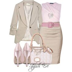 Cream one button jacket and pencil skirt, baby pink sleeveless top, belt, high heel platform pumps, and tan, cream, and baby pink purse with silver heart pendant necklace.