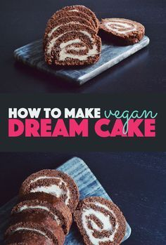 How to Make Vegan Dream Cake   Recipe for a delicious chocolate swiss roll with buttercream frosting. Vegan, egg free, dairy free, and quick and easy to make.