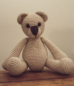 Crochet handmade Teddy Bear toy, Amigurumi crochet gift for child/baby.