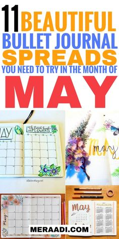 These bullet journal layouts for May are THE BEST! I'm so glad I found these beautiful bullet journal layout ideas. Now I have awesome inspiration for my weekly, daily and monthly spreads for May. Definitely, pinning this for later! #bujo #bulletjournal #bulletjournalcollection #bulletjournaljunkie