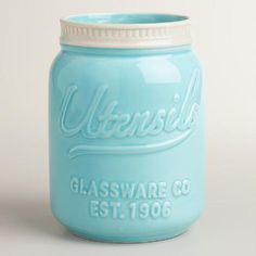 "One of my favorite discoveries at WorldMarket.com: Mason Jar Ceramic Utensil Crock. DETAILS & DIMENSIONS Crafted of ceramic with embossing Airtight lid Dishwasher safe World Market exclusive Explore our Mason Jar Shop 5""Dia. x 7""H"