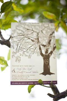 Love the idea of a tree themed wedding, photo lines, postcards Tree Themed Wedding, Wedding Themes, Our Wedding, Dream Wedding, Wedding Ideas, Wedding Stuff, Deep Purple Wedding, Rustic Purple Wedding, Wedding Invitations