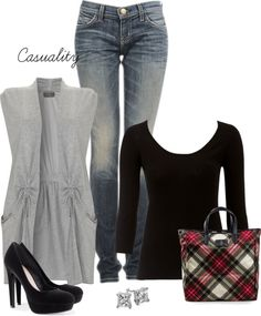 """""""Jeans & Checkered Purse"""" by casuality on Polyvore"""