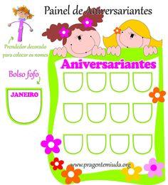 Painel para aniversariantes com moldes - Pra Gente Miúda Professor, Birthdays, Diagram, Books, Kids, Classroom Ideas, Butterfly, Happy Children, Beautiful Boys