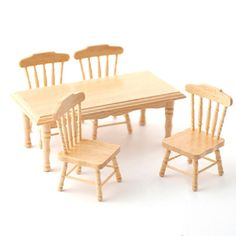 Minimum+World+DF131P+-+Dolls+House+Furniture+Pine+Kitchen+Table+4+Chairs