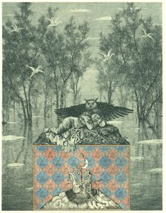 Konstantin Kalynovych. Bestiarius apocalypsi (spring). Etching, dry point, mezzotint. 2005.
