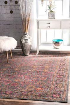 Vintage Persian Floral Isela Grey Area Rug, Size 4' x 6'