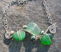Sea Glass Swirls Necklace in Shades of Green by stacilouise