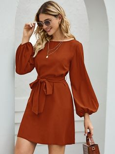 To find out about the Boat Neck Bishop Sleeve Belted Dress at SHEIN, part of our latest Dresses ready to shop online today! Midi Dress With Sleeves, Long Sleeve Midi Dress, Belted Dress, Casual Dresses With Sleeves, Dress Long, Red Dress Casual, Mode Outfits, Dress Outfits, Fashion Outfits