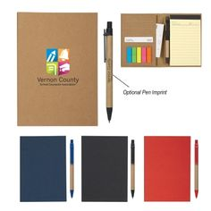 70 Page Lined Notepad. Matching Pen With Paper Barrel In Elastic Pen Loop. Four Card Holders. Sticky Flags In 5 Neon Colors.