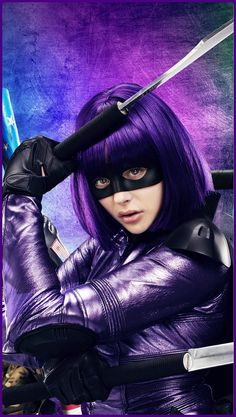 Chloe Grace Moretz kicks ass in purple as Hit Girl