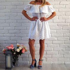 2 Blond, Shoulder Dress, White Dress, Dresses, Fashion, Vestidos, Moda, Fashion Styles, Dress