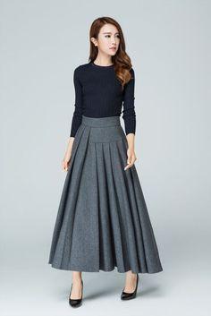 jupe+grise+jupe+longue+jupe+en+laine.+jupe+plissée+par+xiaolizi