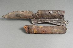 "Amazing Viking knifes -  ""The sheath consists of shaped leather decorated with small silver rivets and a single bronze fitting for suspension to a belt. I believe the original is about 11th century."""