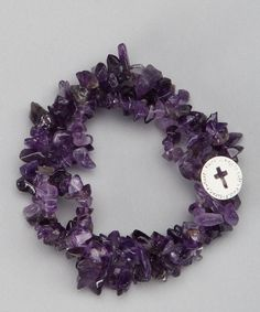 Take a look at this Purple Amethyst 'Faith' Charm Bracelet by LA Rocks on #zulily today!