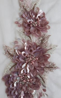 Hand-made motif with lavender flowers of oval sequins in relief http://etsy.me/2nzUw0U #couture #beaded #handembroidery#applique#accessories#highfashion#atelier#motif#cocktaildress