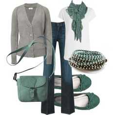 Gray and green! Perfect for fall!