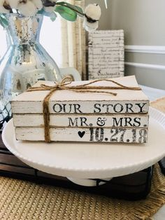 Personalized Books, Personalized Wedding Gifts, Farmhouse Books, Vintage Farmhouse, Farmhouse Decor, Painted Books, Wooden Books, Rustic Books, Custom Book
