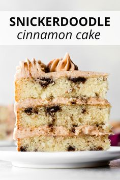 This snickerdoodle layer cake combines my favorite vanilla cake with buttery bro. Snickerdoodle Cake, Cinnamon Cake, Snicker Doodle Cookies, Sallys Baking Addiction, Apple Smoothies, Frozen Cake, Savoury Cake, Homemade Cakes, Dessert Recipes