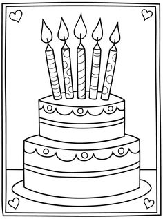 New birthday cake cartoon image coloring pages 64 Ideas - Birthday Cake Vanilla Ideen Cartoon Birthday Cake, New Birthday Cake, Happy Birthday Coloring Pages, Happy Birthday Images, Cat Coloring Page, Colouring Pages, Art Drawings For Kids, Drawing For Kids, Birthday Card Template