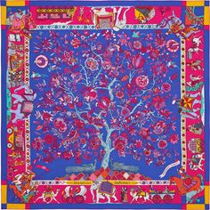 "Fantaisies Indiennes | Hermès plume silk twill giant scarf, 55"" x 55"" (100% silk) 