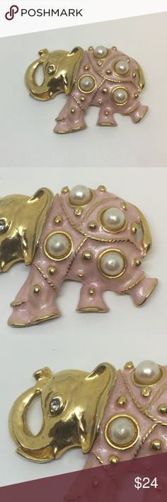 """Pearl Enamel Elephant Brooch True vintage pearl enamel elephant pin brooch. Brooch with four large faux pearls and gold tone detailing on the body. Gold head with a crystal eye. Trunk is turned up.Pink enamel on the body. Minor paint peeling on the pearls, but otherwise is great vintage condition. Not signed or stamped. Measures 2"""" wide by 1.5"""" tall. Whimsical and unique! Vintage Jewelry Brooches"""