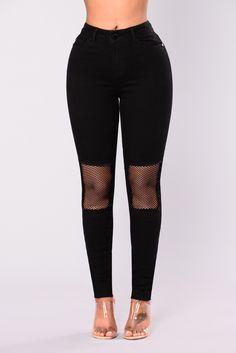 Take A Risk Fishnet Jeans - Black