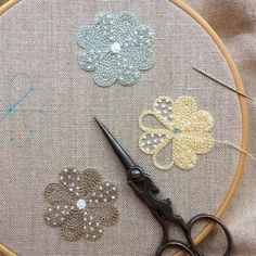 Japanese Embroidery Flowers Take almost any shape and fill it up with chain stitch. Then add some delightful French knots . French Knot Embroidery, Japanese Embroidery, Hand Embroidery Stitches, Crewel Embroidery, Hand Embroidery Designs, Embroidery Techniques, Ribbon Embroidery, Cross Stitch Embroidery, Embroidery Patterns