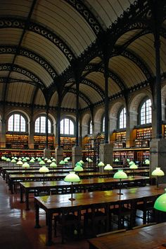 Saint-Genieve Liberairie Reading Room by Pierre Labrouste in 1851 Located at 6 Rue Valette, 75005 Paris Paris France, Paris 3, Beautiful Library, Dream Library, Paris Travel, France Travel, Henri Labrouste, Monuments, St Genevieve