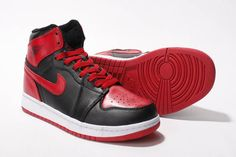Men Size Retro Jordan 1 Leather (Black/Red) - High Shoes