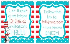 Get these FREE blank Dr Seuss invitations! Just click the link to download, fill in your info and print!! #drseussparty #drseussinvitations