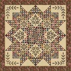 Triangle Star by Edyta Sitar made from 512 2-inch half square triangles, 64 2-inch triangles, and background fabric.