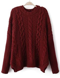 Wine Red Long Sleeve Chunky Cable Knit Sweater US$34.10