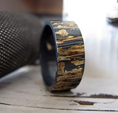 Rustic Mens Wedding Band Oxidized Sterling Silver with 18k Gold 8mm Width Bark Texture Artisan Mens Wedding Ring or Commitment Ring by RUSTICforMEN on Etsy https://www.etsy.com/transaction/1121004380